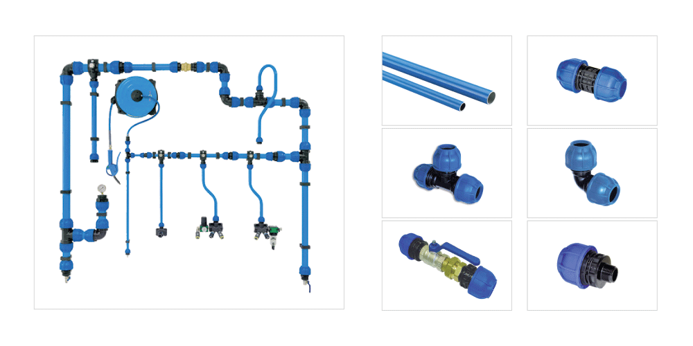 compressed air aluminum piping tubing system